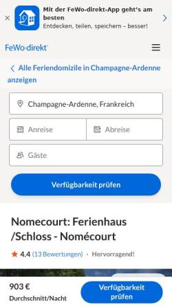 Vorschau der mobilen Webseite www.fewo-direkt.de, Ferienhaus Villa - Nomécourt