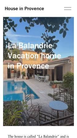 Vorschau der mobilen Webseite www.houseinprovence.dk, Ferienhaus La Balandrie