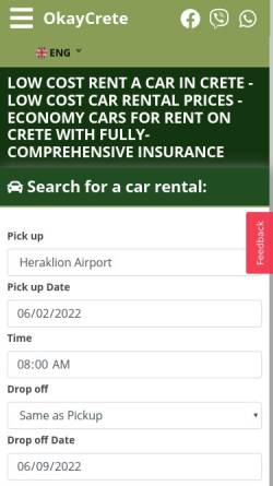 Vorschau der mobilen Webseite www.okaycrete.com, OKay Rent A Car