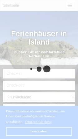 Vorschau der mobilen Webseite island.v-office-cms.com, Ferienhäuser in Island
