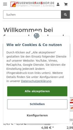 Vorschau der mobilen Webseite www.feuerwehrfanshop.de, Feuerwehrfanshop, Christian Dittmann