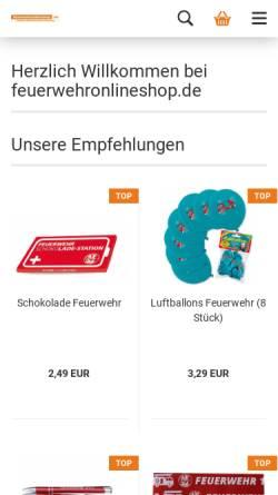 Vorschau der mobilen Webseite www.feuerwehronlineshop.de, FOS Marketing UG
