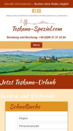 Vorschau der mobilen Webseite www.toskana-spezial.com, Hämmerle Ferienwohnungen