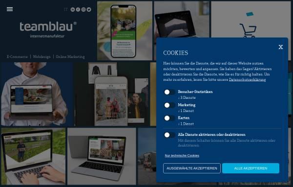 Vorschau von www.teamblau.com, teamBLAU - Agentur Kommunikation Webdesign