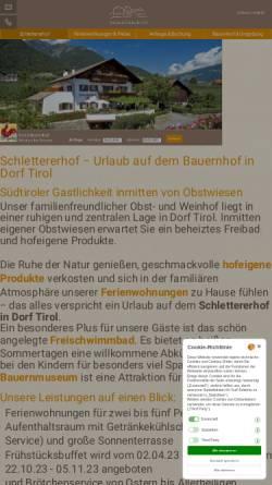 Vorschau der mobilen Webseite www.schlettererhof.it, Ferienwohnungen Schlettererhof