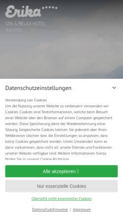 Vorschau der mobilen Webseite www.erika.it, Wellnesshotel Erika