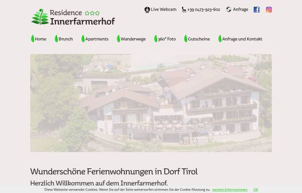 Vorschau von www.innerfarmerhof.com, Garni Innerfarmerhof