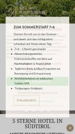 Vorschau der mobilen Webseite www.plantitscherhof.com, Hotel Ansitz Plantitscherhof