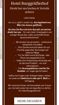 Vorschau der mobilen Webseite www.hotel-burggraeflerhof.com, Hotel Burggräfflerhof
