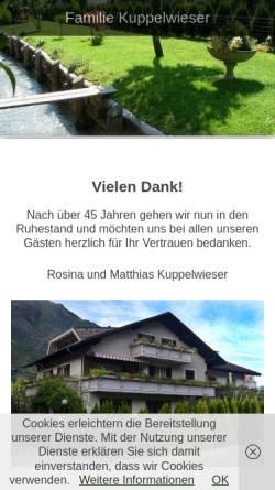 Vorschau der mobilen Webseite www.familie-kuppelwieser.it, Pension Kuppelwieser