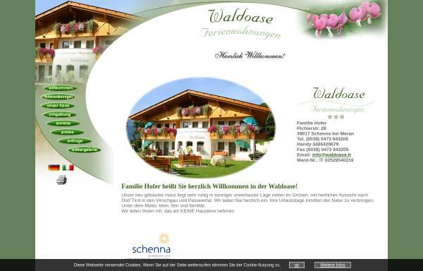 Vorschau von www.waldoase.it, Ferienwohnungen Waldoase