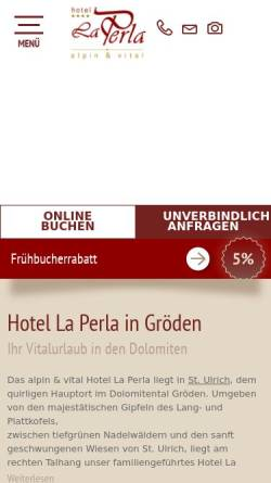 Vorschau der mobilen Webseite www.laperlahotel.info, Hotel La Perla