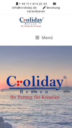 Vorschau der mobilen Webseite www.croliday.de, Croliday Reisen