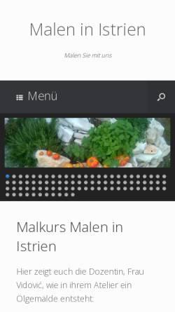 Vorschau der mobilen Webseite www.malen-in-istrien.de, Malen in Istrien
