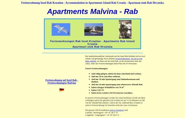 Vorschau von www.malvina.hr, Ferienwohnungen Malvina