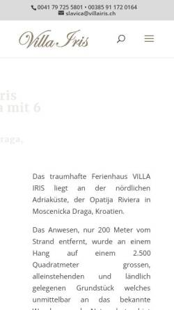 Vorschau der mobilen Webseite www.villairis.ch, Villa Iris