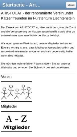 Vorschau der mobilen Webseite www.aristocat.li, Aristocat - Verein der Katzenzüchter Liechtensteins