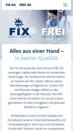 Vorschau der mobilen Webseite www.fixag.li, Fix AG und Textil-Service Frei AG - Grosswäscherei und Textilreinigung