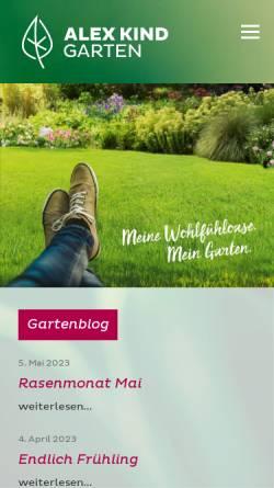Vorschau der mobilen Webseite www.alexkind.li, Alex Kind Gartengestaltung