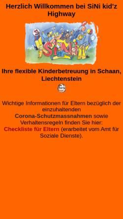 Vorschau der mobilen Webseite www.sini.li, SiNi kid'z Highway