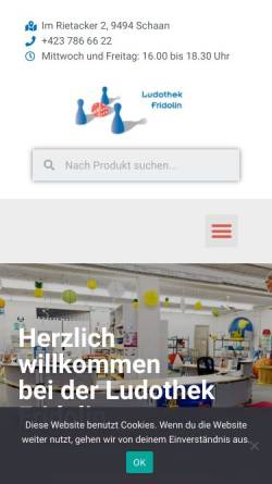 Vorschau der mobilen Webseite www.ludothek.li, Ludothek Fridolin