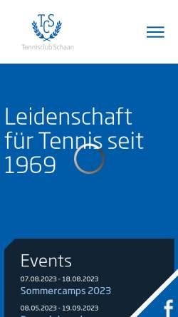 Vorschau der mobilen Webseite www.tcs.li, Tennisclub Schaan