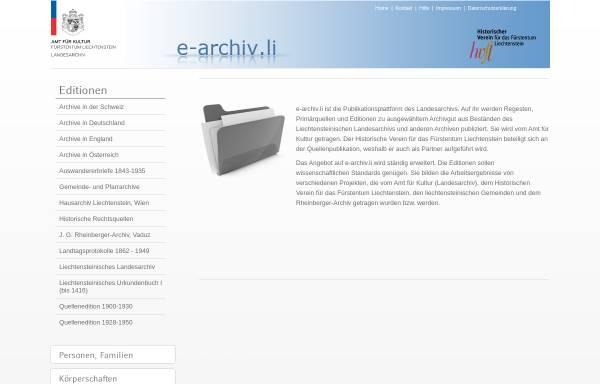 Vorschau von www.e-archiv.li, E-archiv.li - Liechtensteinisches Landesarchiv