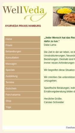 Vorschau der mobilen Webseite www.wellveda.de, Praxis für Ayurveda-Therapie und Massage