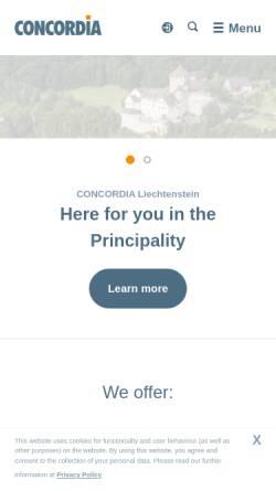 Vorschau der mobilen Webseite www.concordia.li, Concordia Schweizerische Kranken- und Unfallversicherung AG - Landesvertretung Liechtenstein