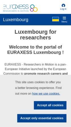 Vorschau der mobilen Webseite www.euraxess.lu, Euraxess Luxembourg