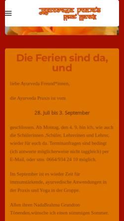 Vorschau der mobilen Webseite www.ayurveda-klosterneuburg.at, Renate Marik