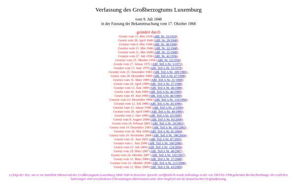 Vorschau von www.verfassungen.eu, Verfassung des Großherzogtums Luxemburg - Verfassungen der Welt