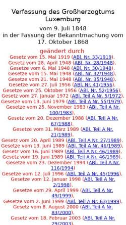 Vorschau der mobilen Webseite www.verfassungen.eu, Verfassung des Großherzogtums Luxemburg - Verfassungen der Welt