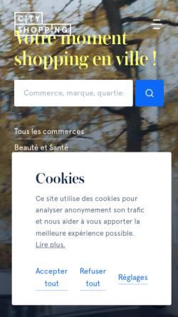 Vorschau der mobilen Webseite www.cityshopping.lu, Cityshopping.lu - site de l'union commerciale de la ville de Luxembourg