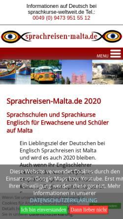 Vorschau der mobilen Webseite www.sprachreisen-malta.de, Sprachreisen Malta