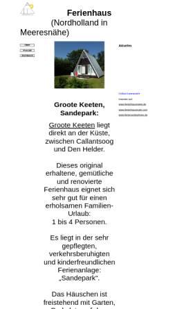 Vorschau der mobilen Webseite www.sandepark.de, Ferienhaus Sandepark