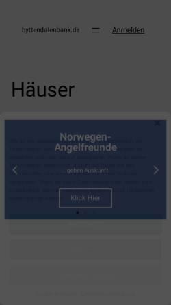 Vorschau der mobilen Webseite www.hyttendatenbank.de, Ferienhäuser von Gästen bewertet