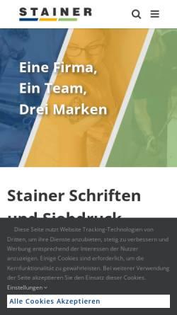 Vorschau der mobilen Webseite www.stainer.co.at, Digitaldruck, Siebdruck - Stainer Schriften und Siebdruck