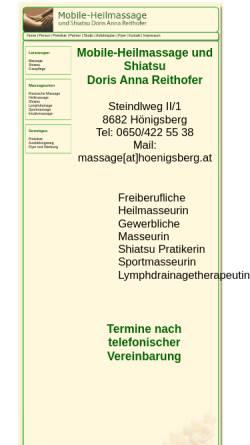 Vorschau der mobilen Webseite www.massage.xn--hnigsberg-07a.at, Shiatsu - Mobile-Heilmassage und Fusspflege Doris Anna Reithofer