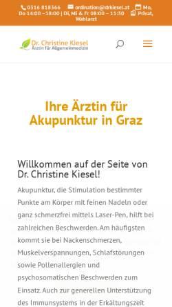 Vorschau der mobilen Webseite www.drkiesel.at, Ordination Dr. Christine Kiesel