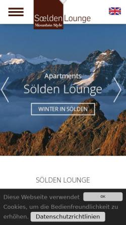 Vorschau der mobilen Webseite www.soelden-lounge.at, Apartment Sölden Lounge