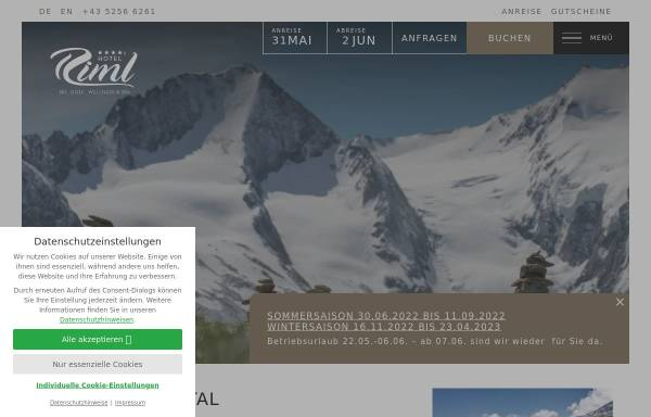 Vorschau von www.hotel-riml.com, Ski- und Golfresort Riml