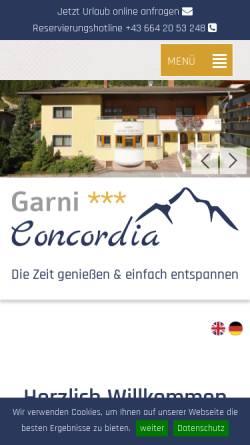 Vorschau der mobilen Webseite www.concordia-soelden.at, Pension Concordia