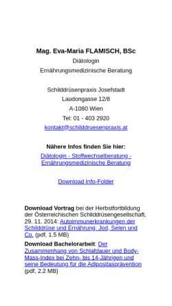 Vorschau der mobilen Webseite www.stoffwechselberatung.at, Diätologin Mag. Eva-Maria Wendt, BSc; Ernährungsmedizinische Beratung in 1080 Wien