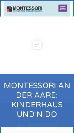 Vorschau der mobilen Webseite www.montessori-aare.ch, Montessori Kinderhaus an der Aare