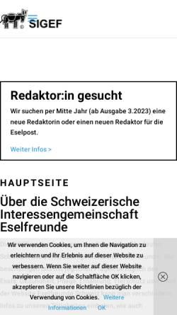 Vorschau der mobilen Webseite eselfreunde.ch, Schweizerische Interessengemeinschaft Eselfreunde
