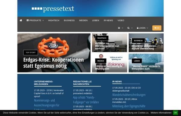 Vorschau von www.pressetext.com, Pressetext