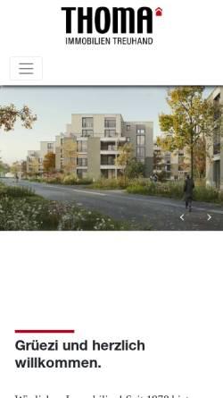 Vorschau der mobilen Webseite www.thoma-immo.ch, Thoma Immobilien Treuhand AG