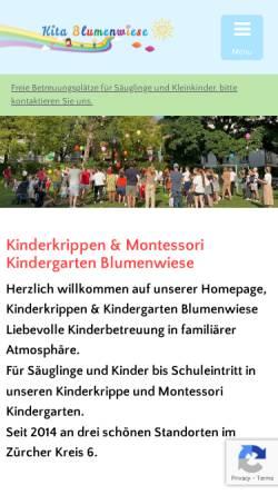 Vorschau der mobilen Webseite www.kitablumenwiese.ch, Kita Blumenwiese GmbH