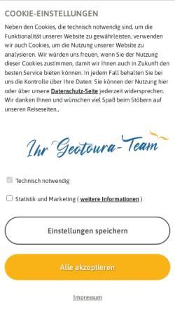 Vorschau der mobilen Webseite www.geotoura.com, Geotoura GmbH